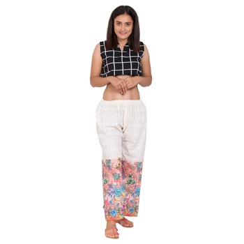 Maroon embroidered cotton harem pants