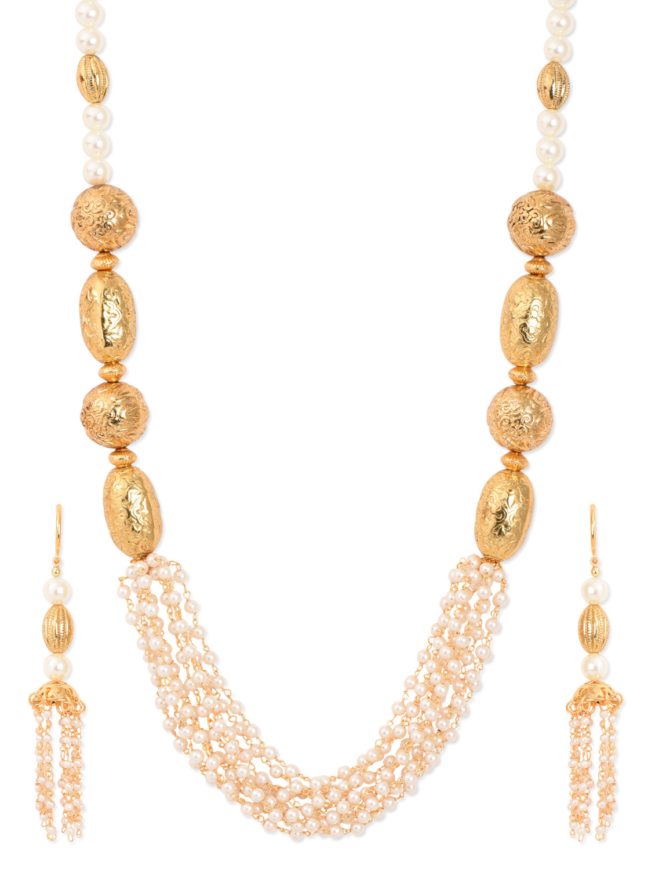Buy Handmade Designer Gold balls and fine pearl mala set Online
