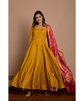 Tangerine yellow anarkali with peach gharchola dupatta