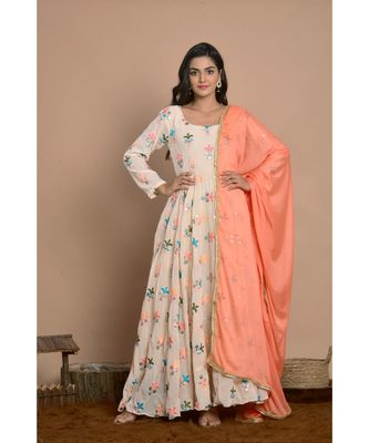 Light peach anarkali with peach dupatta