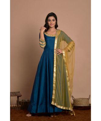 blue anarkali with golden net dupatta