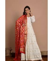 white woven georgette kurta set