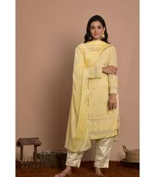 Straight ckikankart kurta pant set with dupatta