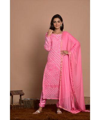 pink bandhani kurta churidar set with dupatta