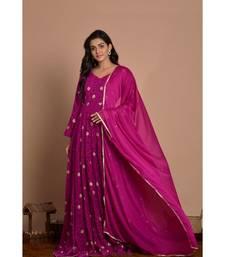 purple woven georgette kurta set
