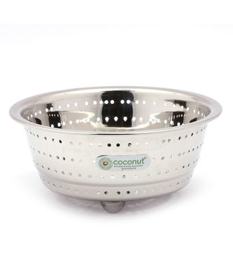 Coconut Stainless Steel Rice, Fruits & Vegetables Basin Strainer/Colander for Kitchen - 1 Unit - (Diamater- 9.5 Inches)