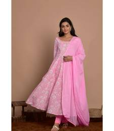 pink anarkali with pant and dupatta