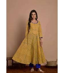 yellow block print dress with blue pany