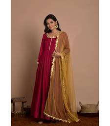 maroon anarkali with golden dupatta