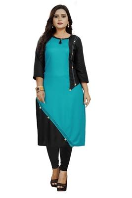 Turquoise plain rayon ethnic-kurtis