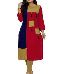 Multicolor hand woven rayon party-wear-kurtis