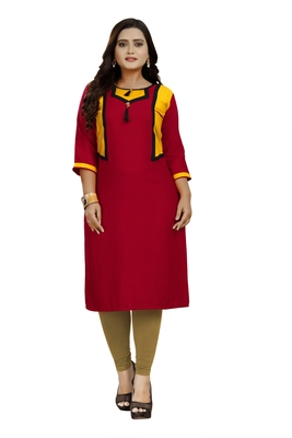 Blood-red plain rayon diwali-kurtis