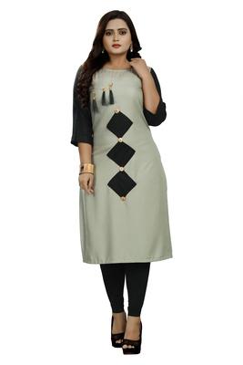 Grey hand woven rayon ethnic-kurtis
