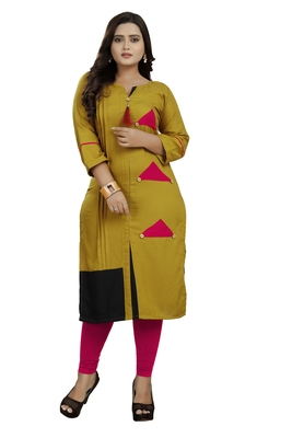 Mustard hand woven rayon ethnic-kurtis
