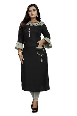 Black plain rayon party-wear-kurtis