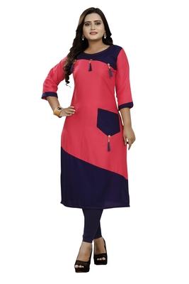 Multicolor hand woven rayon ethnic-kurtis