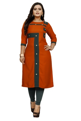 Orange hand woven rayon ethnic-kurtis