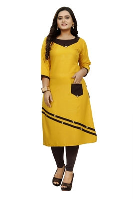 Yellow hand woven rayon ethnic-kurtis