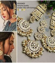 Gold Pearl Mangtikka & Earrings Set For Diwali Special
