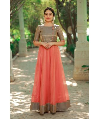 Peach Benaras Fit and Flare Dress
