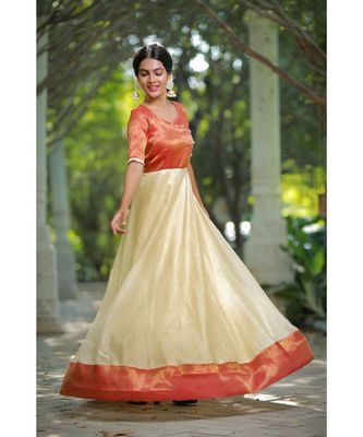 Off White Benaras Fit and Flare Dress