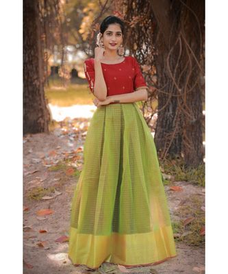 Red Dupion Silk Cotton  Fit and Flare Dress
