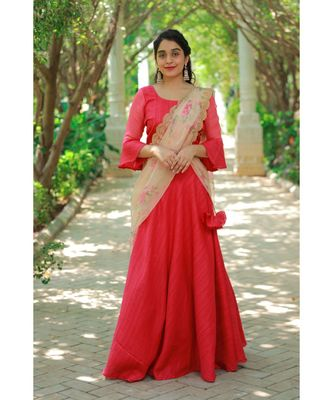 Red Khadi Silk  Fit and Flare Crop Top and Skirt
