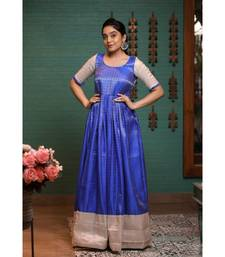 Blue Benaras Fit and Flare Dress
