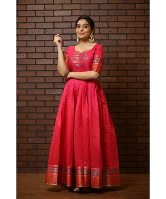Pink Cotton Silk Fit and Flare Dress