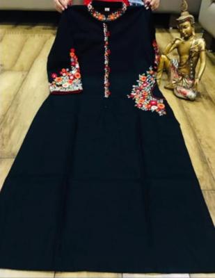 Black Linen Cotton Kurta With Red Heavy Embroidery Worked Chikankari Plazzo