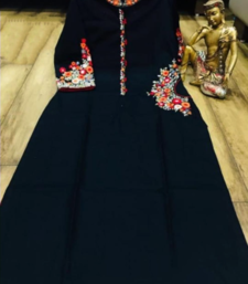 Black Linen Cotton Kurta With Red Heavy Embroidery Worked Chikankari Plazzo