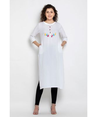 Rayon white colour long kurta with both side pockets and contrast tassels