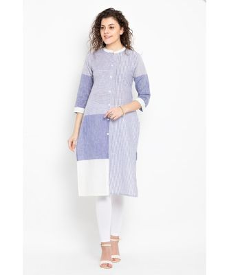 cotton woven long kurta with three fourth sleeves ,mandarin collar with placket and button details