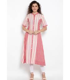 Pink Cotton woven design panelled long kurta