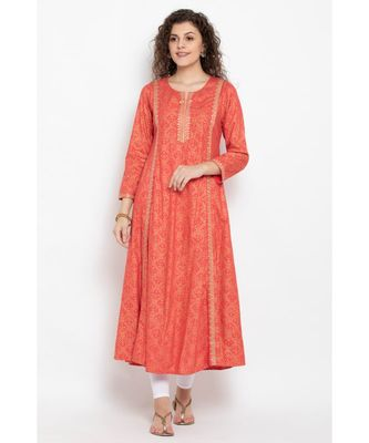 Gold foil print long flared kurta with three fourth ,round neck highlighted with embroidery