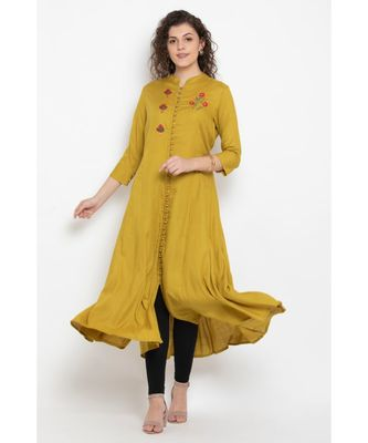 Rayon long flared kurta with three fourth sleeves,mandarin collar with buttons and contrast colour embroidery