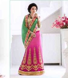Buy multicolor embroidered viscose saree with blouse lehenga-saree online
