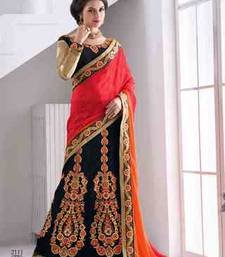 multicolor embroidered net saree with blouse