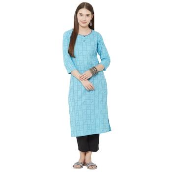 women's pure cotton dobby casual wear blue kurti
