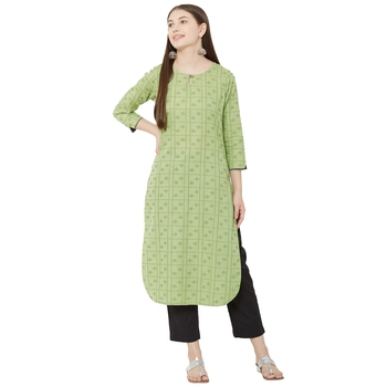 women's green / pista color pure cotton dobby casual wear kurti