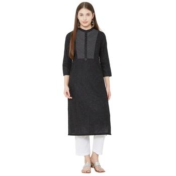 women's pure cotton black casual wear kurti
