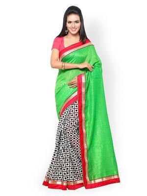 Green Colour Bhagalpuri Silk Designer Saree with unstitched blouse