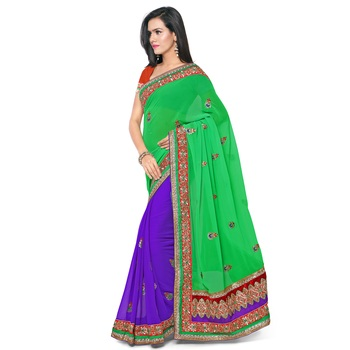Green Colour Pure Georgette Designer Saree with unstitched blouse