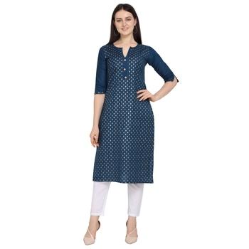 Dark-blue printed cotton ethnic-kurtis