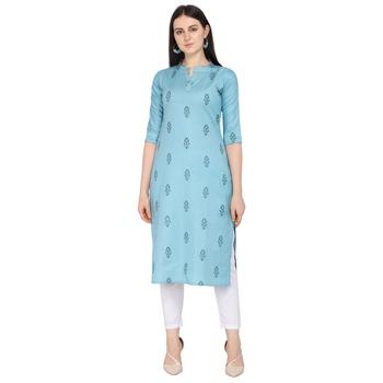 Light-blue printed cotton ethnic-kurtis