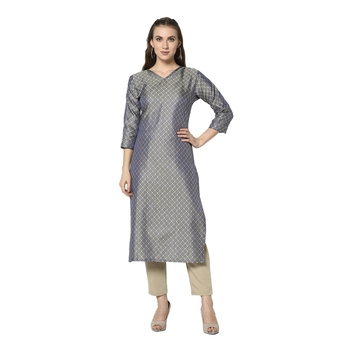Grey woven jacquard diwali-kurtis