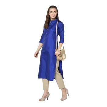 Blue woven jacquard diwali-kurtis