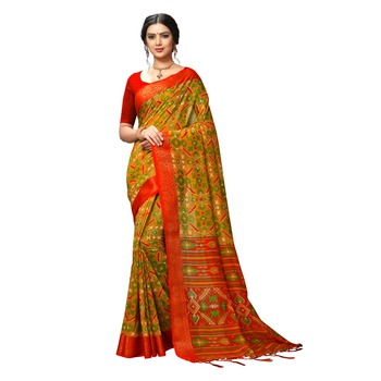 Gold woven silk saree with blouse