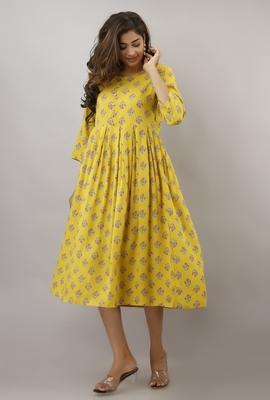 Yellow printed viscose rayon maxi-dresses