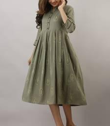 Green printed viscose rayon maxi-dresses